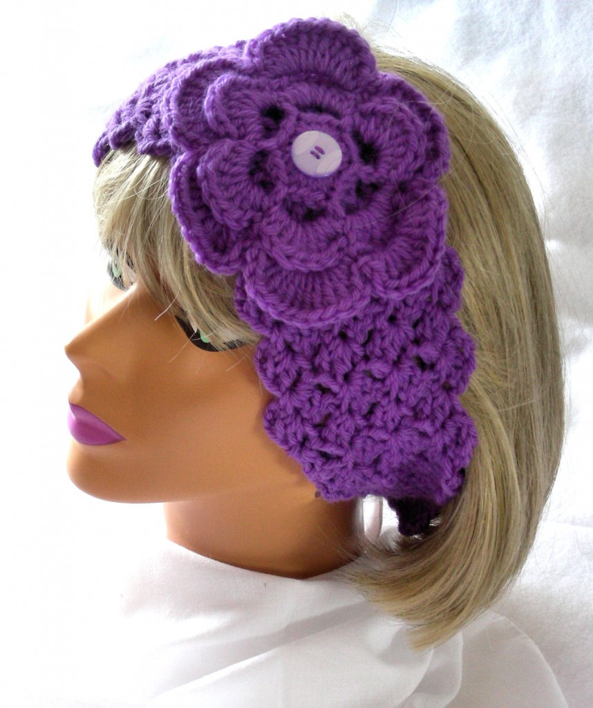 Crochet Patterns Head Warmers : Crochet Head Warmer - Neck Warmer in Purple