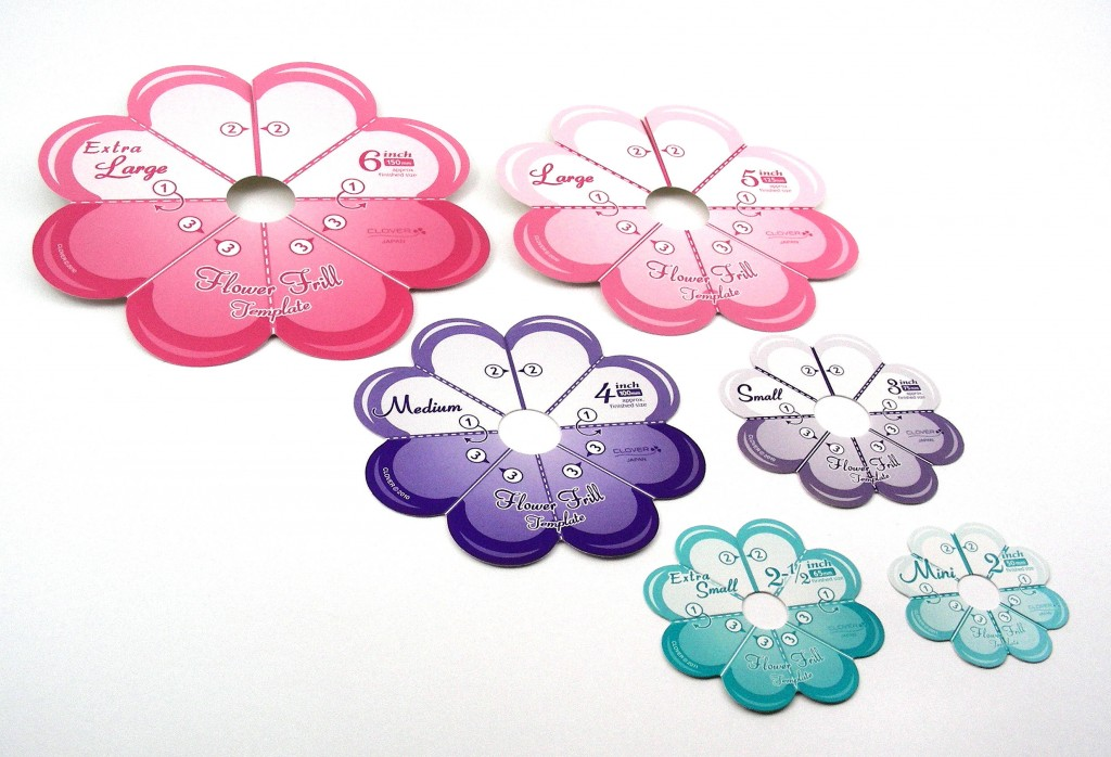 "Clover Flower Frill templates come in Mini (2""), Extra Small (2-1/2*), Small (3""), Medium (4""), Large (5""), and Extra Large (6"")."