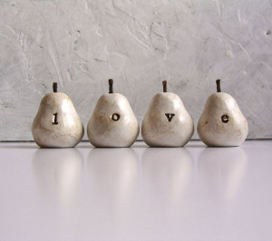 """Love"" Polymer Clay Pears by Skye Art"
