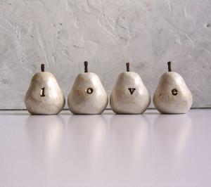 """Love"" Polymer Clay Pears by Skye Art"