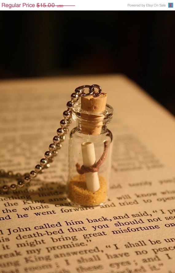 Message in a Bottle - Glass Vial Necklace by Space Pearl