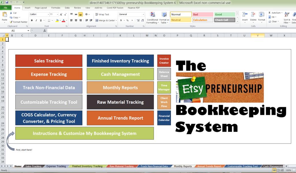 Etsy-preneurship Bookkeeping System