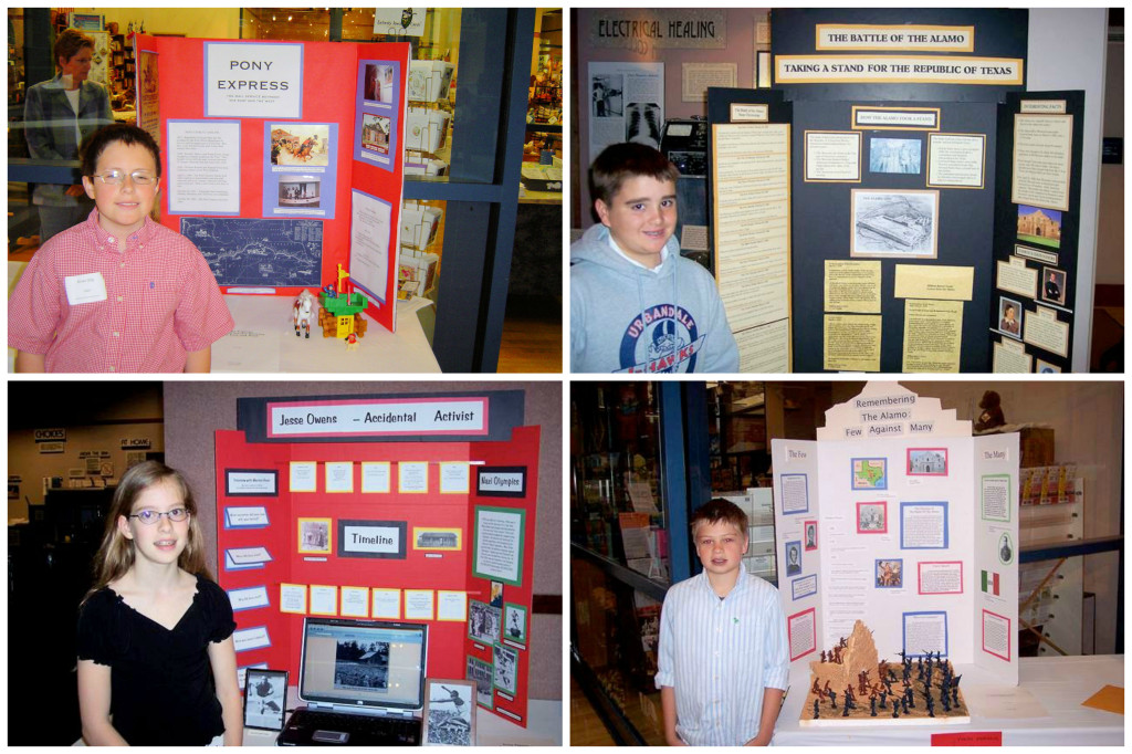 These photos represent the final National History Day projects for elementary students I taught after school.