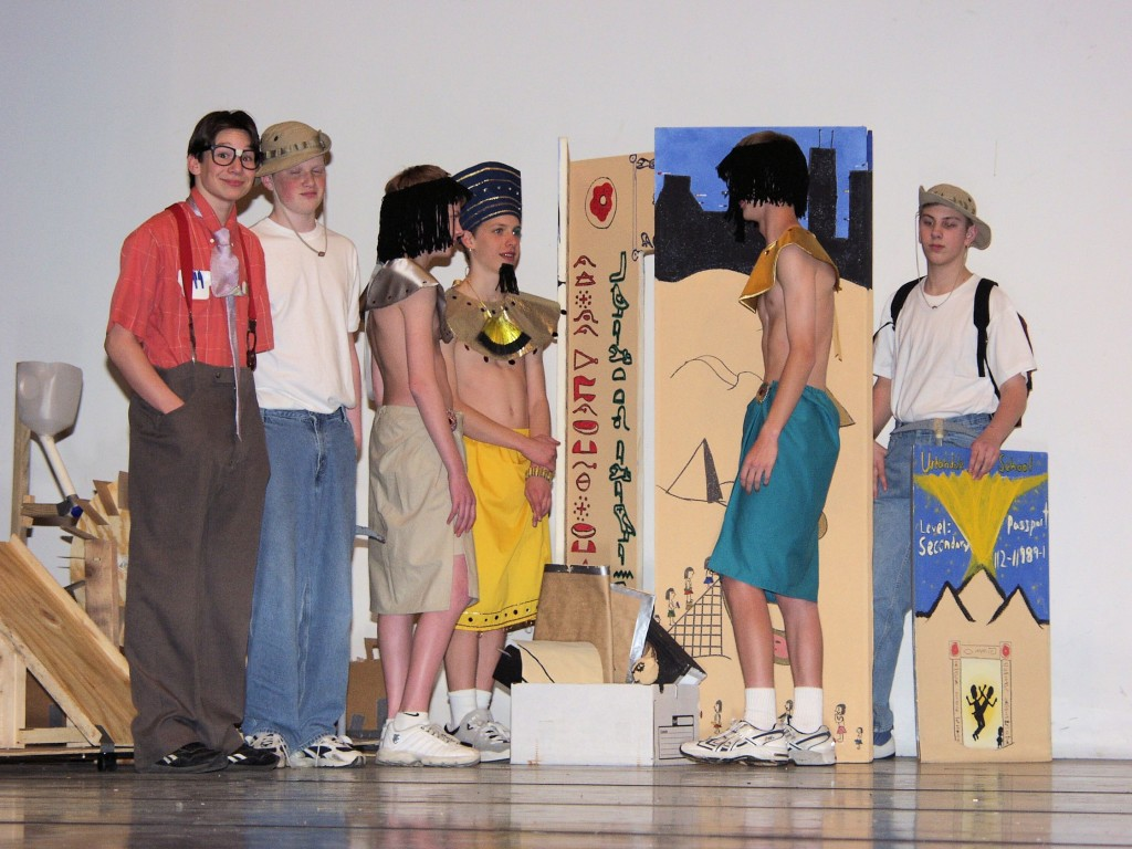 During their freshman year of high school, my team solved a challenge called StranDId involving a team of archaeologists stranded in time, specifically in ancient Egypt.