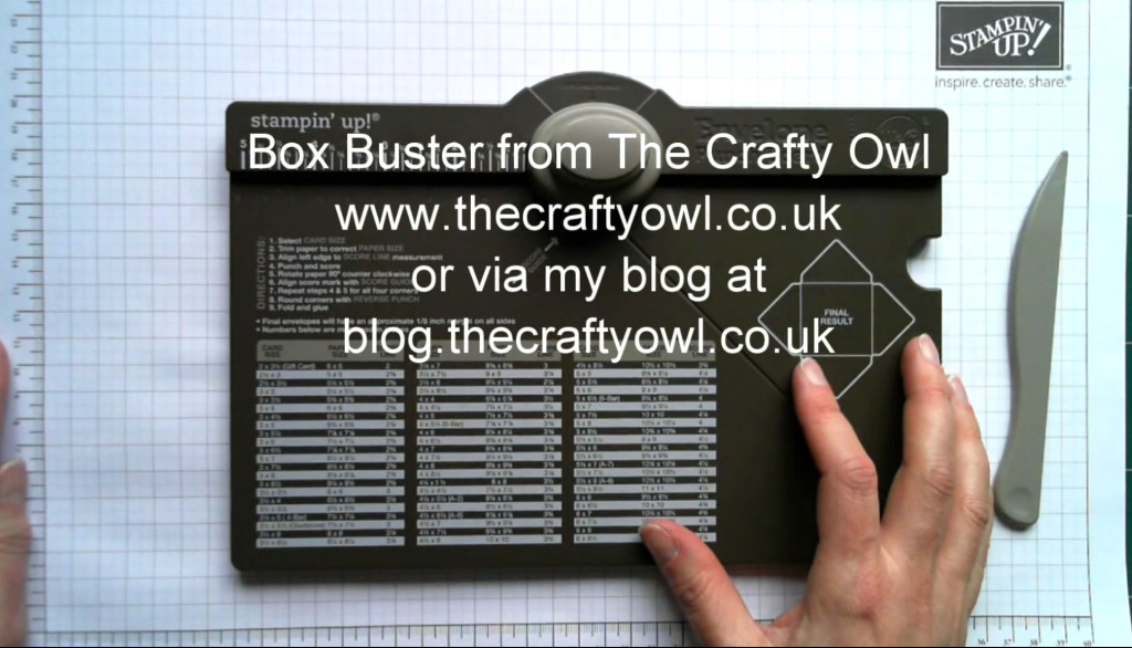 Click on this image to watch a video about Crafty Owl's Box Buster app that allows you to create just about any size box you need with your Envelope Punch Board.