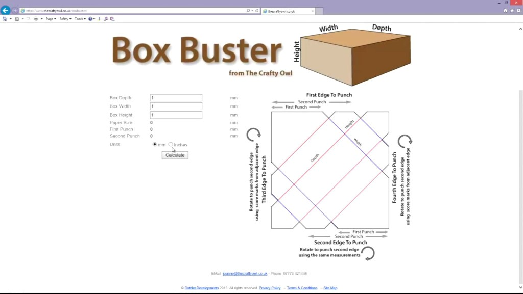 This is a screenshot of the Box Buster tool in action. You enter the desired box depth, height and width, and the app will tell you what size to cut your paper, and where the first and second punches should go. Easy-peasy!