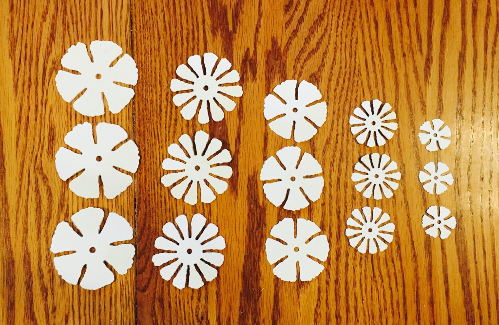 Cut three each of the five largest flowers.