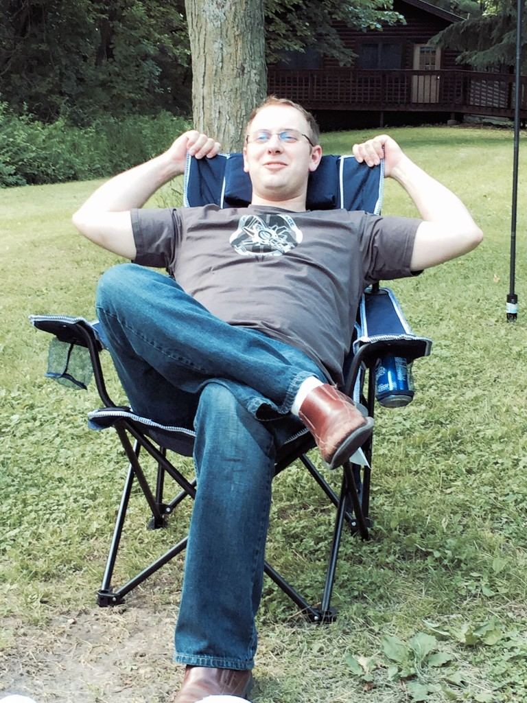 David relaxes outside