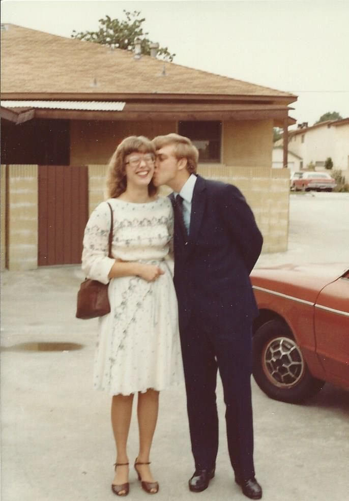 This photo is likely from 1980 or 1981--very early in our marriage. I don't know if we're dressed up to go to dinner or to church, but I know I wore this dress to work as well.