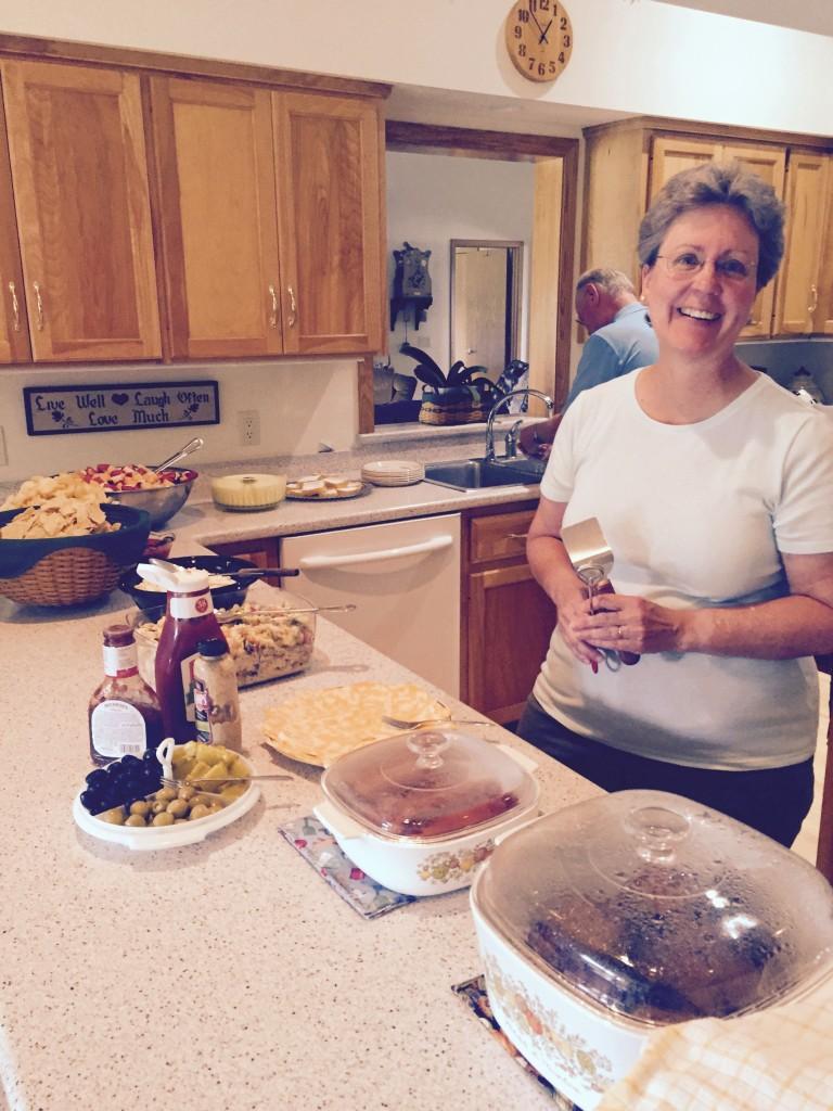 Bev prepares a feast