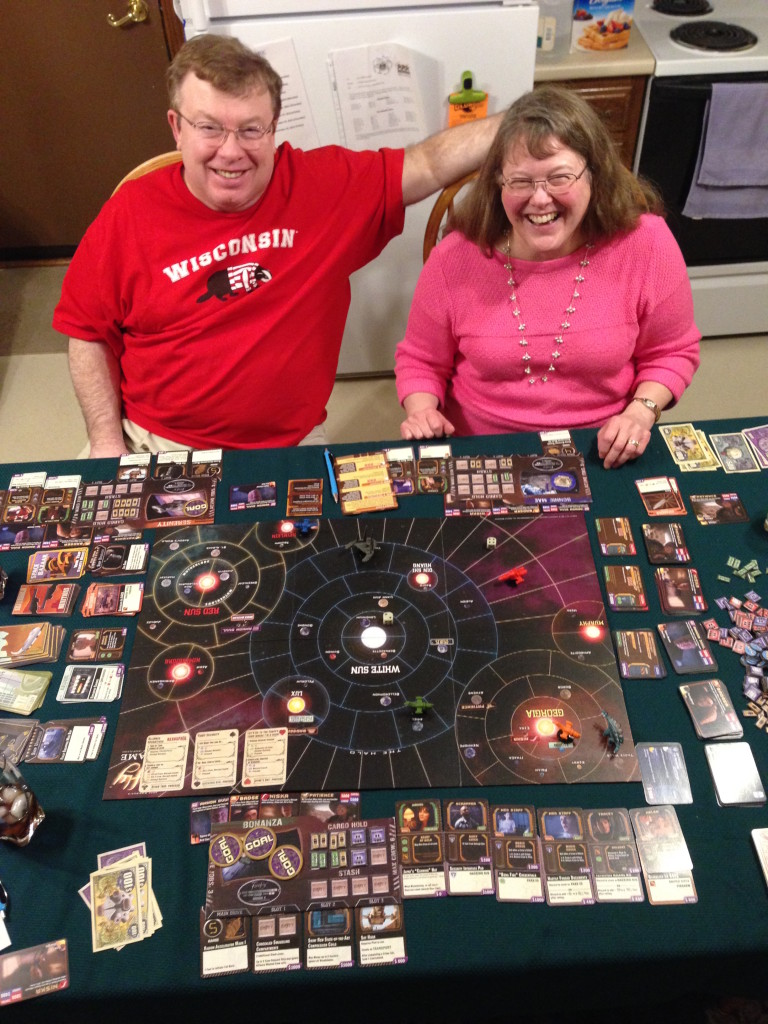We also played Firefly (named after the movie series of the same name), with even more moving parts and rules.