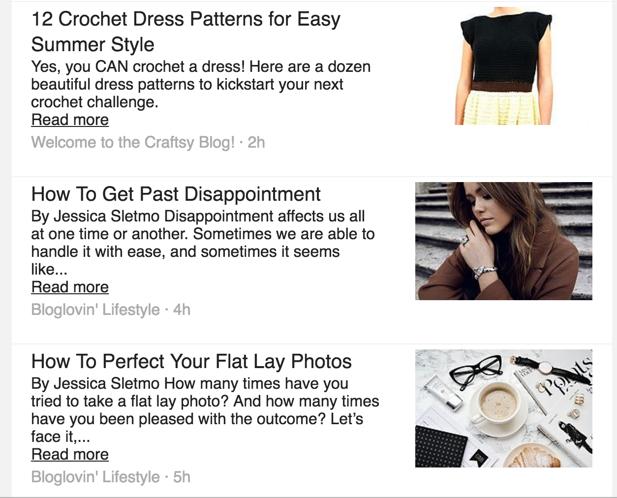 Bloglovin' Email Screenshot