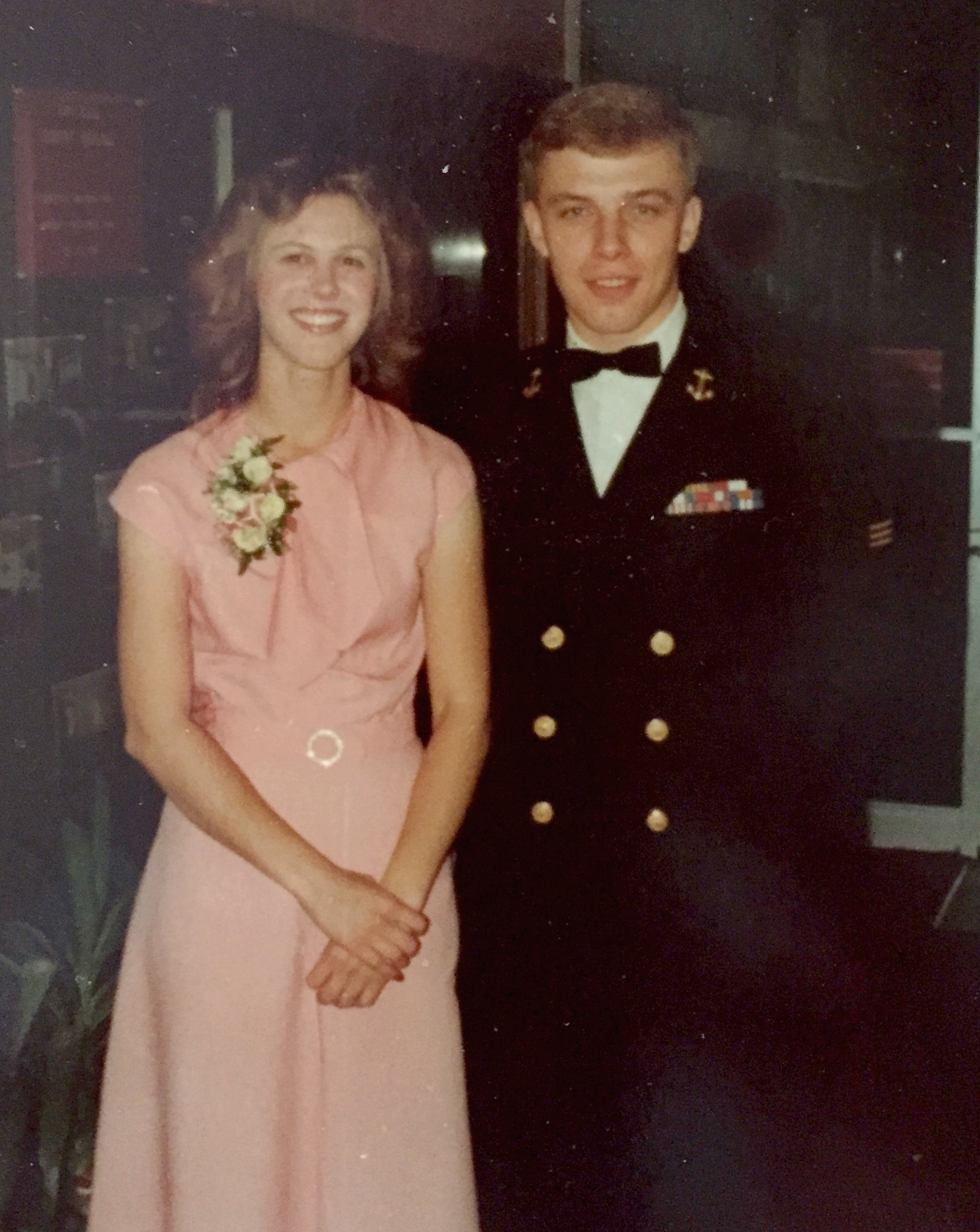 We got engaged in October, 1977, at the Navy ROTC ball. The dress I am wearing was sewn from a Vogue pattern.