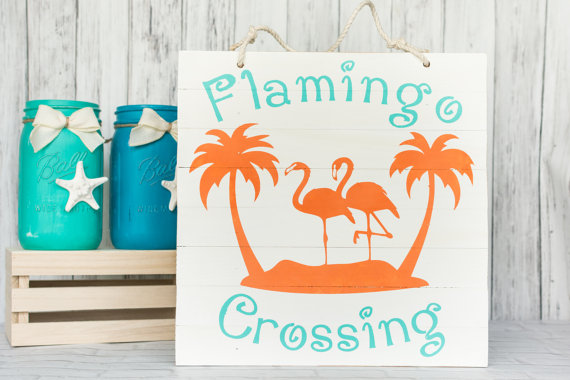 Flamingo Wood Sign by Natasha Nunez of MermaidsWhispers on Etsy, https://www.etsy.com/listing/274769350/flamingo-wood-sign-flamingo-crossing