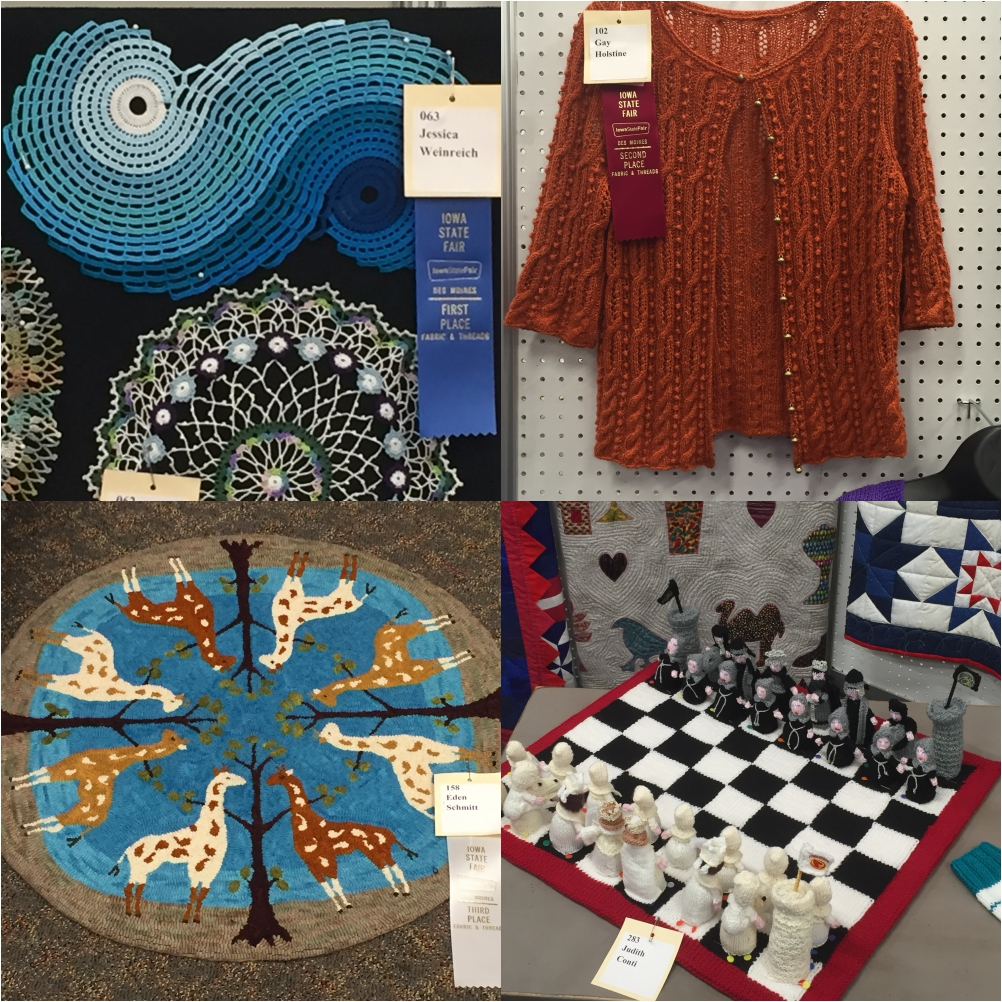 Isn't it amazing what different projects can be produced from yarn? Top left, 1st Place Crocheted Doily - Jessica Weinrich. Top right, Second Place Knitted Sweater - Gay Holstine. Bottom left: 3rd Place Hooked Rug - Eden Schmitt. Bottom right: Crocheted Chessboard & Chesspieces - Judith Conti.