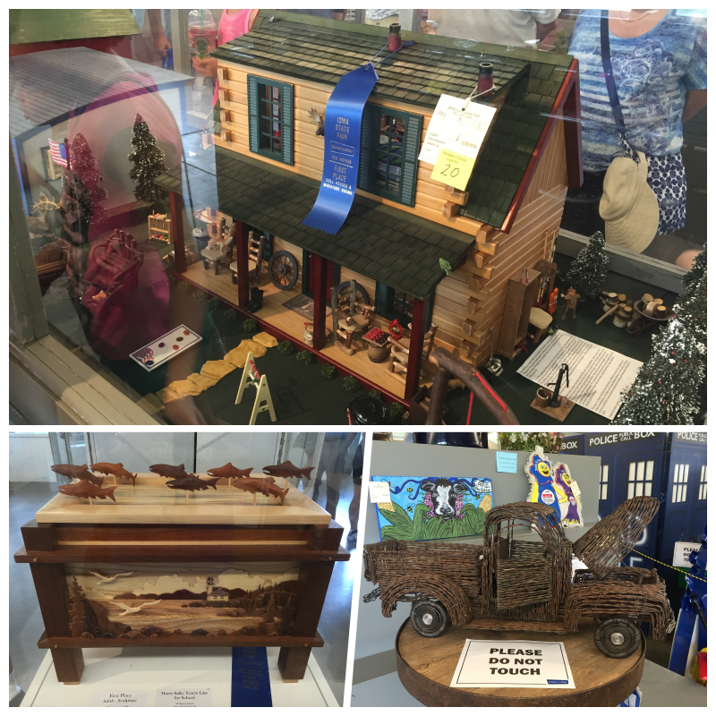 Top, 1st Place Dollhouses & Miniature Rooms - Dena Heeren. Bottom left, 1st Place Adult Sculpture: Hurry, Sally, You're Late for School - William Close. Bottom right, 1st Place Creative Arts - Walter Gardner, Jr.