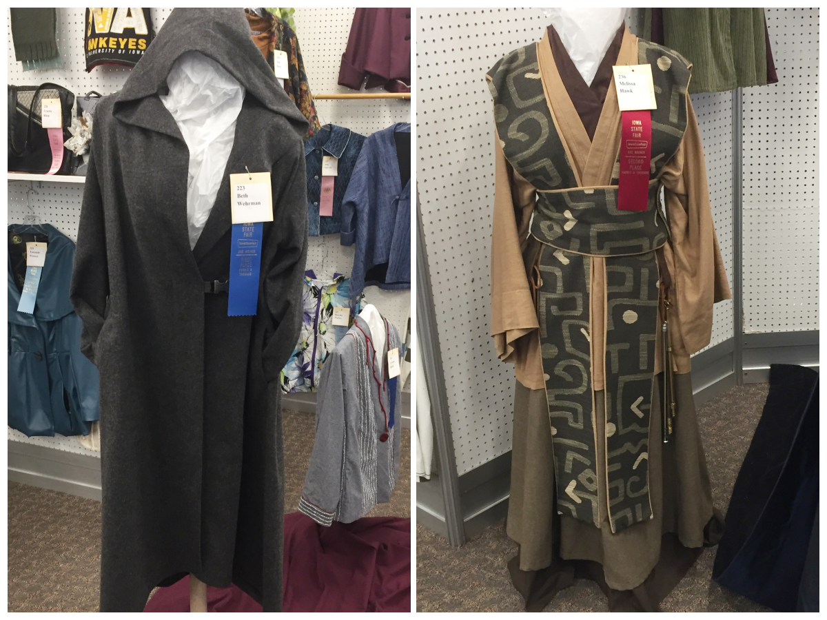 These garments caught my eye. Left: 1st Place Gray Hooded Coat - Beth Wehrman. Right: 2nd Place Traditional Costume - Melissa Hawk.