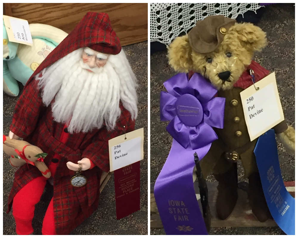 Pat Devine appears to be the Queen of Soft Sculpture, earning 2nd Place and 1st Place, respectively, for the Old Fashioned Santa and Teddy Bear.